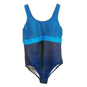 Lands' End Scoop Neck Striped Swimsuit Size 20 W/L